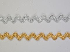 Glitzer-Zackenlitze silberfarbig, 10 mm
