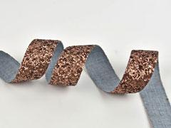 Glitzerband 25 mm breit, braun changierend