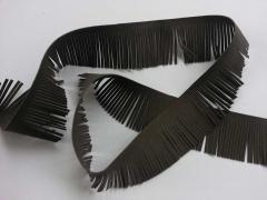 Fransenband Wildleder Optik 5 cm breit,dunkeltaupe