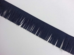Fransenband Wildleder Optik 5 cm breit, dunkelblau