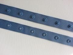 Druckerband Knopfabstand 2.5 cm, jeansblau