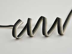 Ripsband gestreift 16 mm, beige schwarz