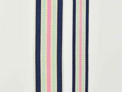 Ripsband Streifen 25 mm, navy mint rosa