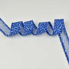 Schrägband Leoparden Muster Animal Print, hellblau dunkelblau