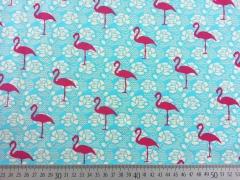 Jerseystoff Flamingos Spitzendruck, pink auf türkis