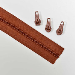 endlos Reißverschluss Meterware 5 mm + 3 Schieber, terracotta