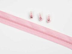 1 Meter endlos Reißverschluss 3 mm + 3 Schieber, helles altrosa