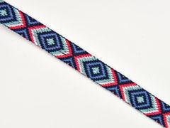 Jacquard Webband Ethnomuster Rauten 2 cm, pink mint jeansblau navy