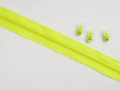 endlos Reißverschluss Meterware 3 mm + 3 Schieber, neongelb