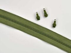 1 Meter endlos Reißverschluss 3 mm + 3 Schieber, khaki