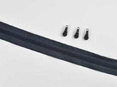 1 Meter endlos Reißverschluss 3 mm + 3 Schieber, dunkelgrau