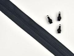 1 Meter endlos Reißverschluss 3 mm + 3 Schieber, schwarz