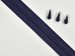 endlos Reißverschluss Meterware 3 mm + 3 Schieber, navy