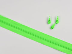 endlos Reißverschluss Meterware 3 mm + 3 Schieber, neongrün