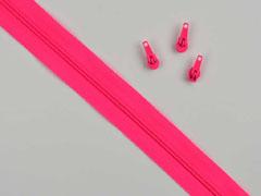 1 Meter endlos Reißverschluss 3 mm + 3 Schieber, neonpink