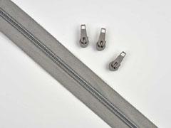 endlos Reißverschluss Meterware 5 mm + 3 Schieber, grau