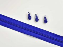 1 Meter endlos Reißverschluss 5 mm + 3 Schieber, kobaltblau