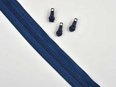 1 Meter endlos Reißverschluss 5 mm + 3 Schieber, indigo blau