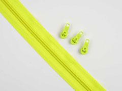 endlos Reißverschluss Meterware 5 mm + 3 Schieber, neongelb