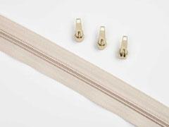 endlos Reißverschluss Meterware 5 mm + 3 Schieber, natur