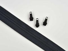 endlos Reißverschluss Meterware 5 mm + 3 Schieber, schwarz