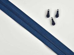 endlos Reißverschluss Meterware 3 mm + 3 Schieber, indigo blau