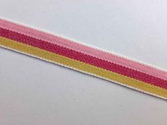 Webband Streifen 15 mm, rosa beere senfgelb
