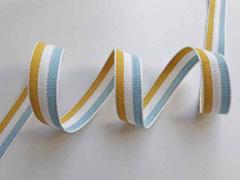 Webband Streifen 15 mm, hellblau weiß senfgelb