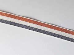 Webband Streifen 15 mm, braun cremeweiß anthrazit