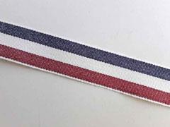 Webband Streifen 25 mm, dunkelrot weiß navy