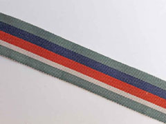 Ripsband Streifen 35 mm, dunkelmint dunkelblau orangerot