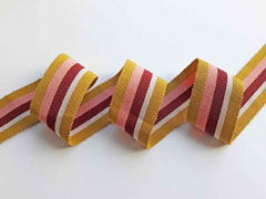 Ripsband Streifen 35 mm, ocker natur dunkelrot altrosa
