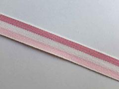 Webband Streifen 15 mm, rosa cremeweiß altrosa