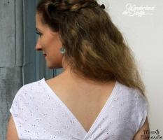 RESTSTÜCK 31 cm bestickter Jersey Blumenmuster - weiss