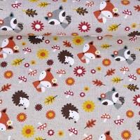 Dekostoff Leinenlook Füchse, Igel & Blumen, natur