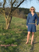 Chambray Jeans Look Mini Punkte, jeansblau