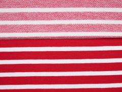 Sweat Stoff French Terry  Streifen 1 cm, rot weiß