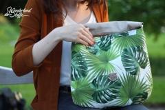 Canvas Digitalprint Half Panama Green Leaves, grün weiss