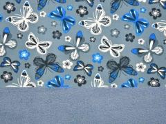 Softshell Stoff Schmetterlinge, grau