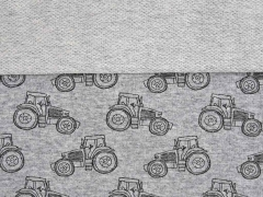 French Terry Traktor, schwarz grau melange