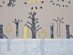 RESTSTÜCK 35 cm angerauter Sweat Bäume, beige