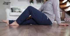 RESTSTÜCK 72 cm Sweatstoff angeraut, indigoblau meliert