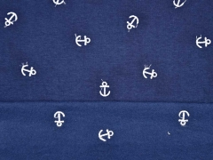 RESTSTÜCK 88 cm angerauter Sweat gestickte Anker, dunkelblau