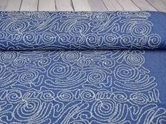 Jeans bestickt Kringel Fransen, jeansblau