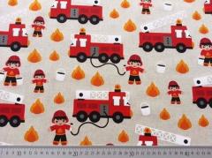 RESTSTÜCK 43 cm Leinen Look Feuerwehr, natur/rot