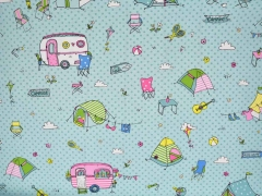 Dekostoff Happy Camping hellblau