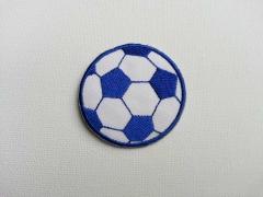 Bügelmotiv Fussball, 4,75 cm, blau-weiss