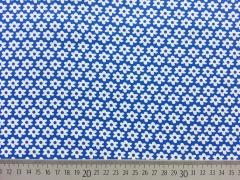 Baumwolle Blümchen, weiß auf königsblau