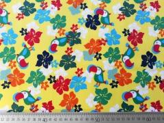 Baumwolle Kakadoo & Blumen, gelb