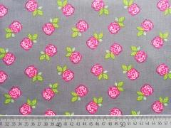 Baumwollstoff romantische Rosen auf grau